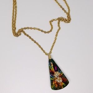 🌹German crystal & rose pendant w/ gold chain